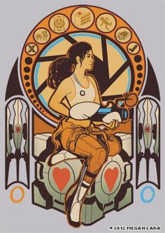 """Chell Nouveau"" by Megan Lara, she sells shirts and prints of her work. Lots of familiar faces!"