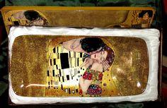 """Gustav Klimt Dessertteller """"Der Kuss"""" beige mit Geschenkbox"""