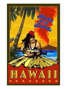 Aloha from Waikiki, Hawaii Prints by Lantern Press - at AllPosters.com.au