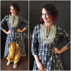 For the Jaipur leg of the promotions of her new film 'Tevar', Sonakshi Sinha kept it traditional in a Payal Singhal ensemble.  I really like this high low kurta and the yellow salwar look on her. Ev