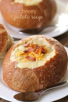 The easiest and yummiest soup ever - Cheesy Potato Soup - just throw it in the crock pot and you're set!