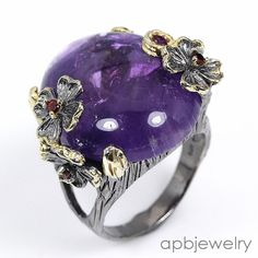 Jumbo 40ct  Natural Amethyst 925 Sterling Silver Ring Size 9.5/R34167 #APBJewelry #Ring