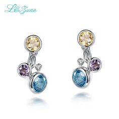 2017 The New 925 Sterling Silver Natural Topaz Blue Stone Fashion Elegant Stud Earrings For Woman Gift Fashion Earring