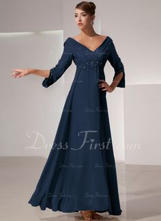 Empire V-neck Floor-Length Ruffle Beading Zipper Up Sleeves 3/4 Sleeves Champagne Fall General Plus Chiffon Mother of the Bride Dress