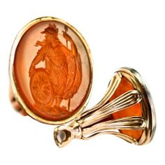 Antique Georgian Gold Wax Seal Carnelian Britannia Intaglio thumbnail 1
