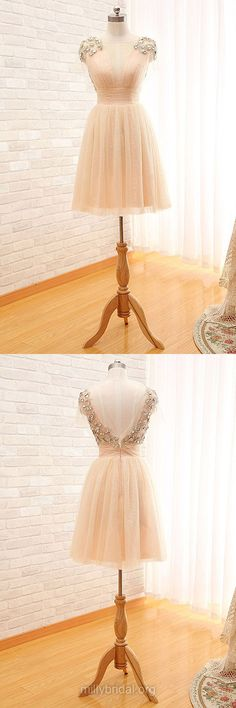 Online Backless Short Prom Dresses,Cute Homecoming Dresses,A-line Scoop Neck Formal Party Gowns,Tulle Beading Cocktail Club Dress