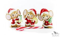 Vintage Christmas Mice  Kitsch Christmas by northandsouthshabby