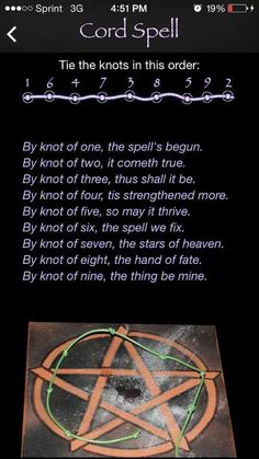 One of the best Cord spells I have seen - source unknown ... ╰☆╮skymomma╰☆╮