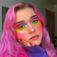 Rainbow Eye Makeup, Colorful Eye Makeup, Colorful Eyeshadow, Makeup Dupes, Glam Makeup, Hair Makeup, Makeup Art, Makeup Products, Beauty Products