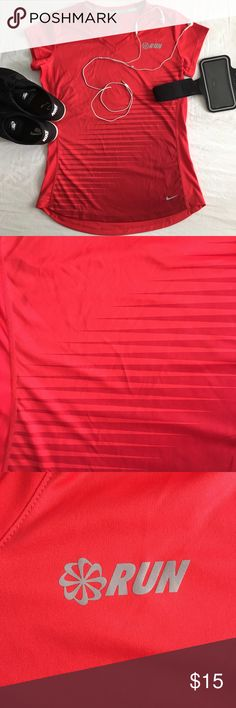 Nike Dri-FIT Running Shirt Nike Dri-FIT running shirt. Size M. Color is a very bright red, true to photos. Nike Tops Tees - Short Sleeve