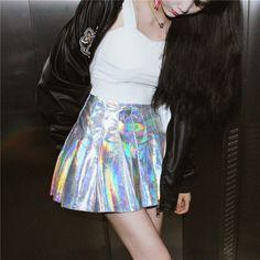 Laser A-Line Pleated Mini Skirt