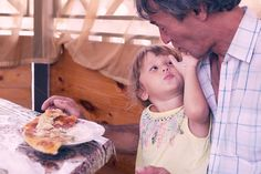 Child with father have a breakfast. Father, Daughter, Outdoors, Children, Breakfast, Food, Pai, Young Children, Morning Coffee