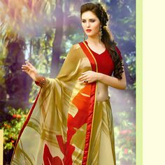 Beige and Olive #Green Faux Georgette #Saree with Blouse