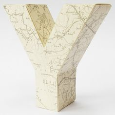 3d letter Y made from vintage map