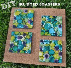 DIY Ink Dyed Coasters tutorial - easy & fun #DIY #craft #paint