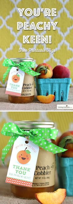 You're Peachy Keen! Cute Free Printable Thank You Gift Tags and Easy DIY Gift Ideas by LivingLocurto.com