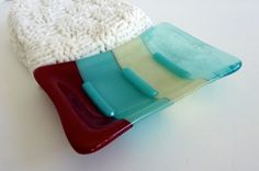 Glass Soap Dish in Turquoise French Vanilla and Red by bprdesigns, $15.00