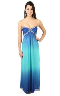 strapless royal blue ombre long prom dress with beading