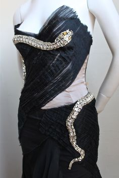 Tom Ford Dresses | TOM FORD GUCCI 2004 runway silk dress with crystal snake at 1stdibs