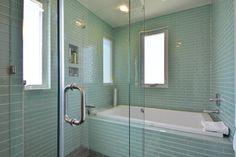 Modern Home | Modern Bathroom | Master Bath | Glass Subway Tile | Glass Shower | Elevated Ceilings | Mueller Homes Austin Texas | Mueller Development | Tilley ST Row Homes, www.muellersilentmarket.com