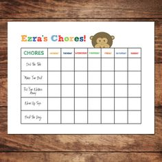Printable Personalized Chore Chart, DIY, Customized Kids Schedule & Routine Charts. $4.00, via Etsy.