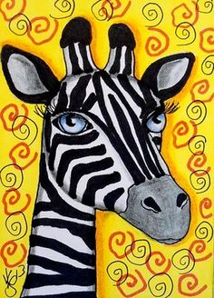 "Aceo Original ""ZEBRA GIRAFFE"" ON EBAY"