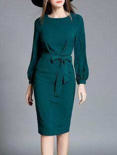 Shop Midi Dresses - Green Bow Long Sleeve Sheath Midi Dress online. Discover unique designers fashion at StyleWe.com.
