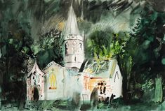 Visit us to license this and other works by John Piper. © The Piper Estate / DACS/Artimage Photo: Luke Piper John Piper Artist, Coventry Cathedral, Somerset, Printmaking, Watercolor, Abstract, Drawings, Cottages, Castles