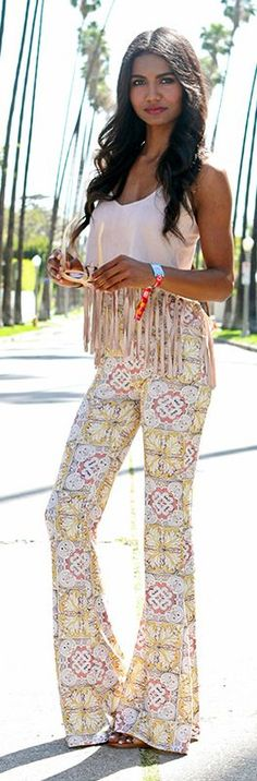 Tile Print Flare Pants Summer Style by Tuolomee