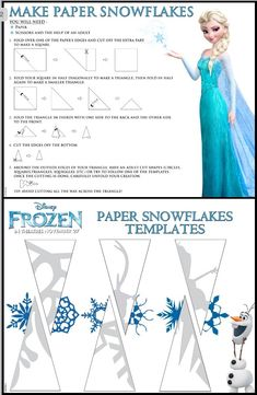 Frozen Paper Snowflake Craft with Free Printable Instructions Paper Snowflake Template, Snowflake Craft, Paper Snowflakes, Paper Snowflake Patterns, Snowflake Printables, How To Make Snowflakes, Snowflake Origami, Snowflake Party, Easy Origami