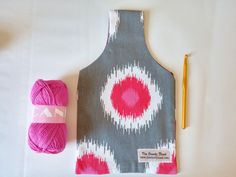Grey Pink & White Reversible Yarn Bag for Crochet by TheSteadyHand