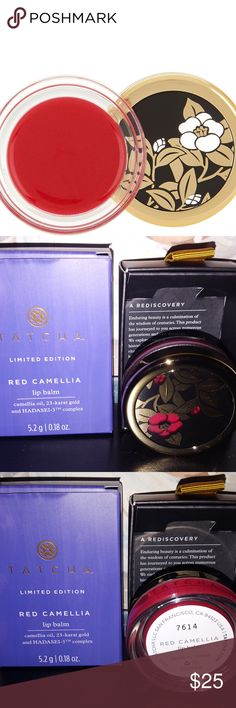 Tatcha Red Camilla Lip Balm for Holiday 2017 Inspired by Red Camellia, a popular wintertime bloom in Japan, this deeply hydrating lip balm leaves lips soft and touchable with a subtle red sheen and hint of 23-karat gold.  Includes: 0.24-oz Red Camellia Lip Balm  Brand new. Makes a terrific gift! Perfect for any season and travel!! Comes with receipt upon request. Guaranteed authentic or money back! Tatcha Makeup Face Primer