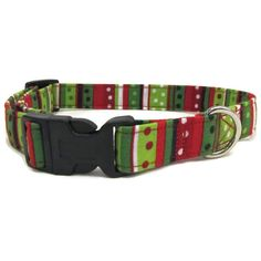 Christmas Dog Collar Striped Dog Collar Holiday by DogsBestTrend