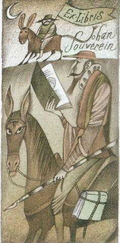 Don Quixote. Ex libris by Adolf Born Ex Libris, English Frases, Locuciones Latinas, Man Of La Mancha, Dom Quixote, Amazing Drawings, Typography Prints, Horse Art, Animation Film