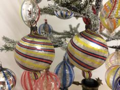 Two free blown Fadenglas ornaments, German, 1920's-1930's Glass Ornaments, Glass Art, Christmas Bulbs, German, Holiday Decor, Free, Deutsch, Christmas Light Bulbs, German Language