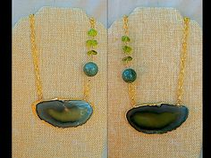 Green & Blue Geode Slice Statement Necklace Christmas by FunNFiber