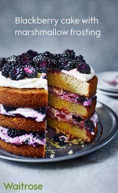 Blackberry and marshmallow frosting sandwiched between vanilla sponge. Top with buttercream and scatter with fresh blackberries to serve.