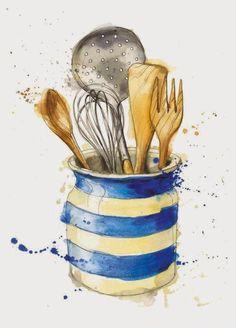 ARTWORK   Dasha Belka (Russia). **Belka_rukodelka**: Картинки для кулинарной книги Illustration with Cornishware-style utensil holder     ✫ღ⊰n