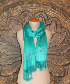 Teal Pashmina Scarf with Silver Embroidery by KarenFayeandCompany