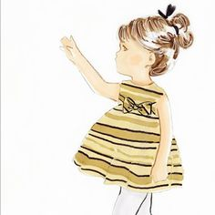 Sketch of the Shimmer Striped Dress by designer Rebecca. Dress Sketches, Fashion Sketches, Fashion Illustrations, Newborn Outfits, Kids Outfits, Fashion Art, Autumn Fashion, Scarlett Rose, Janie And Jack