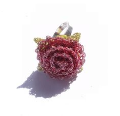 Crochet wire rose ring