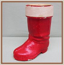"""Christmas Candy Container Santa's Boot Large - Perfect to present some of your own homemade caramel - from the Ruby Lane shop """"Cobayley Vintage Jewelry Antiques Collectibles """""""