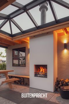 Adobe Fireplace, House Extension Plans, Roof Deck, Interior Garden, House Extensions, Outdoor Rooms, Skylight, Backyard Landscaping, Pergola