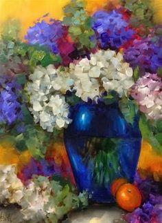 "Daily Paintworks - ""Violet Halo Hydrangeas by Flor..."" by Nancy Medina"