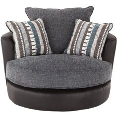 Zak Snuggle Swivel Chair ($555) ❤ liked on Polyvore featuring home, furniture, chairs, accent chairs, patterned armchair, swivel arm chair, swivel chairs, adjustable chair and island furniture