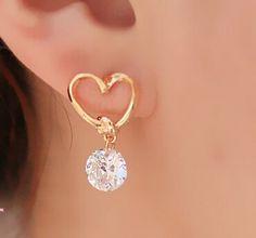 E020 브랜드 디자인 새로운 핫 패션 인기있는 럭셔리 크리스탈 지르콘 스터드 심장 귀걸이 우아한 귀걸이 보석 2016