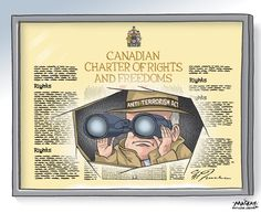 The Canadian Charter of Rights and the Conservative government's anti terrorism and security bill C-51: http://mackaycartoons.net/2015/02/20/saturday-february-21-2015/