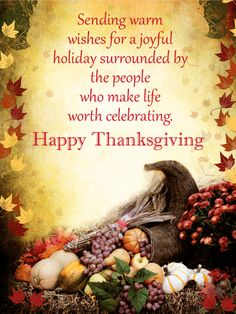 Sending Warm Wishes - Happy Thanksgiving Card | Birthday & Greeting Cards by Davia