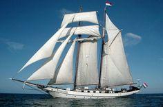 """Nom du bateau : """"Tolkien"""" : Goélette à huniers  néerlandaise \\  Le """"JR Tolkien"""" a été construit en 1964. Il a déjà participé à l'édition 2003 de l'Armada."""