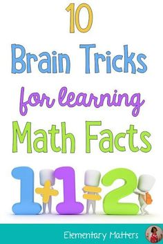Ten Brain Tricks for Learning Math Facts: These strategies are backed by science, and will help the kiddos with basic math facts! Fun Math Games, Math Activities, Subtraction Activities, Elderly Activities, Dementia Activities, Numeracy, Summer Activities, Physical Activities, Brain Tricks